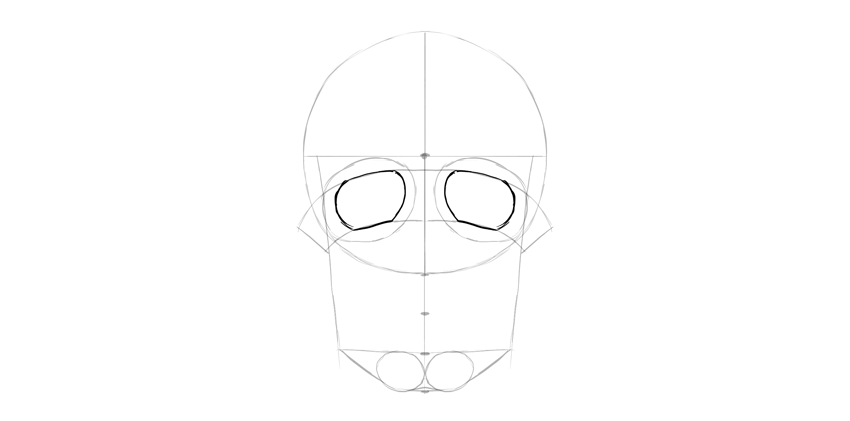 forma de soquetes de olho de crânio humano