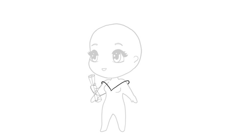 drawing chibi big collar