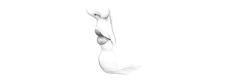 how to draw lips in profile side view