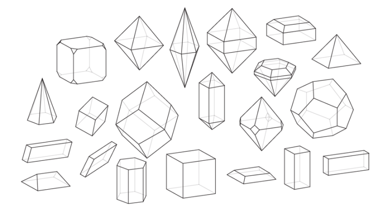 how to draw crystal shapes types systems