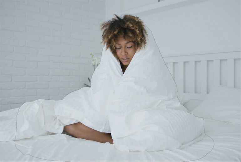 black woman in blanket
