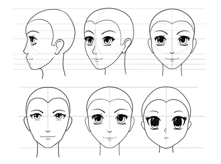 how to draw manga head step by step beginner