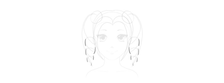 draw side of curly hair