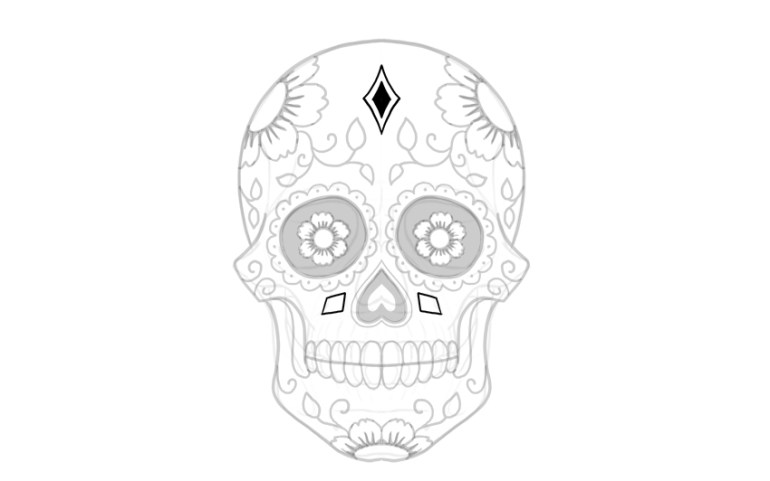 draw shapes on sugar skull
