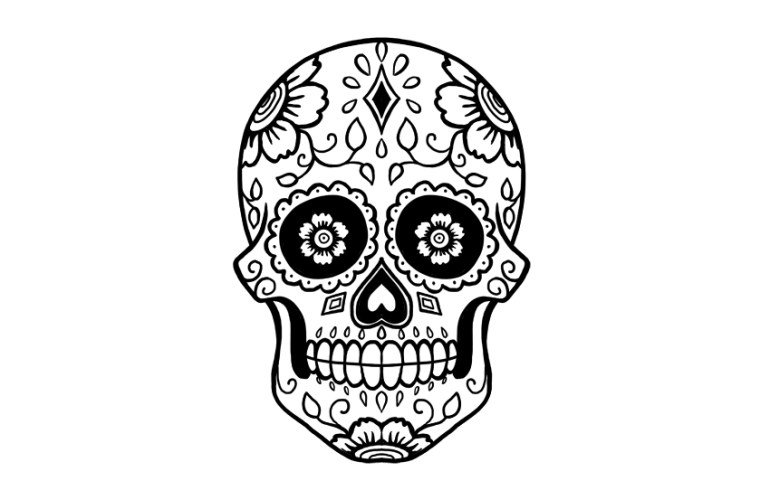 draw sugar skull in ink