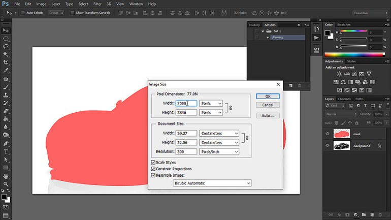 how to change image size photoshop