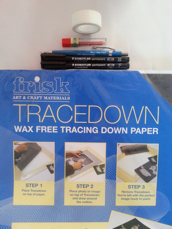 Supplies - pens and tracedown paper