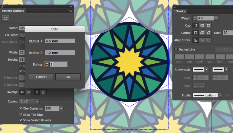 adobe illustrator star tool create radius setting points weight stroke eid fitr greeting card