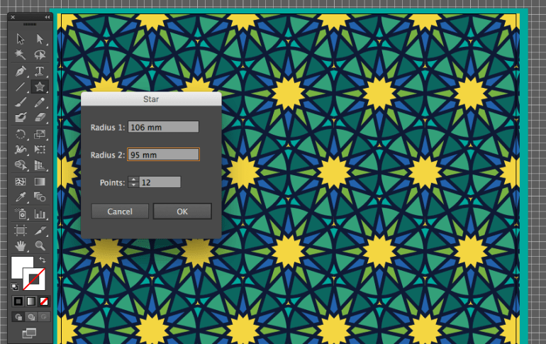 adobe illustrator star dialog box  create 12 point pattern background eid fitr card design