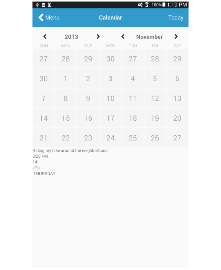 calendar page add notes