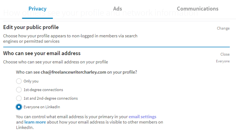 LinkedIn Privacy Settings