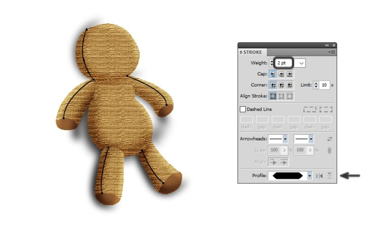 draw big stitch lines on the voodoo doll