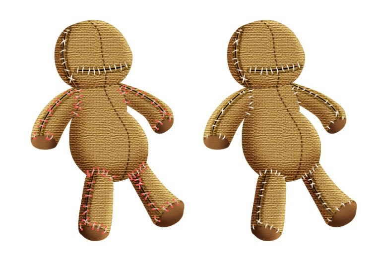 create thread stitches on the body of voodoo doll