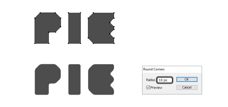 create rounded edges for pie letters