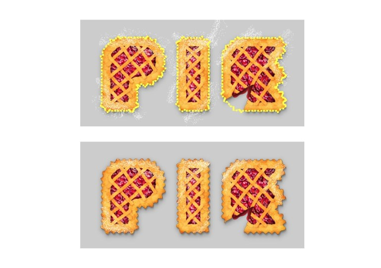 mask the powdered sugar around the pie letters
