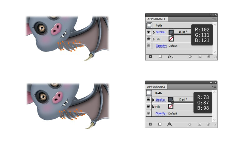 how to create the darker pieces of fur on the bats body