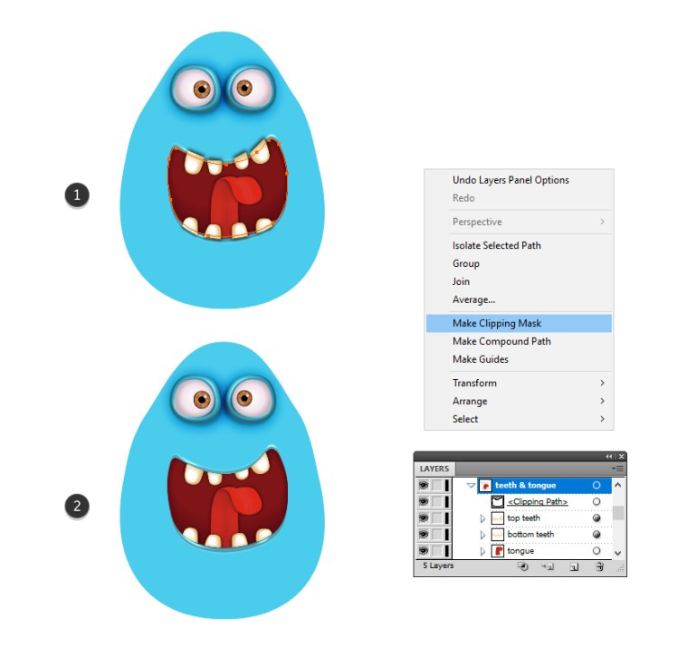 how to mask the teeth and tongue of the monster