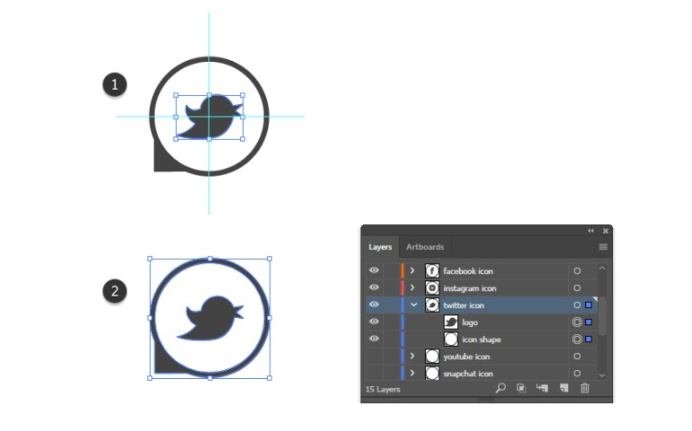 how to complete the Twitter vector icon