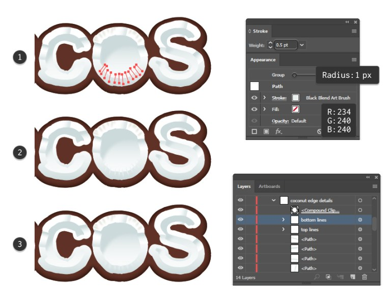 how to add details on the coconut bottom edge for letter O