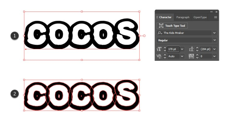 how to type the text for the coconut text effect design