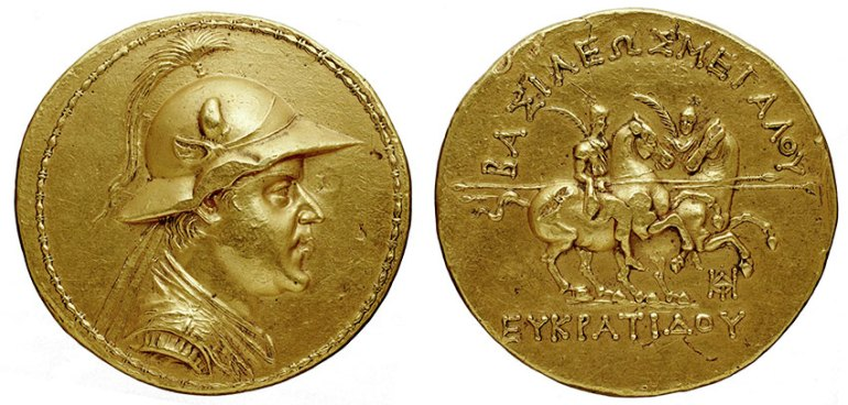 Gold 20-stater of Eucratides