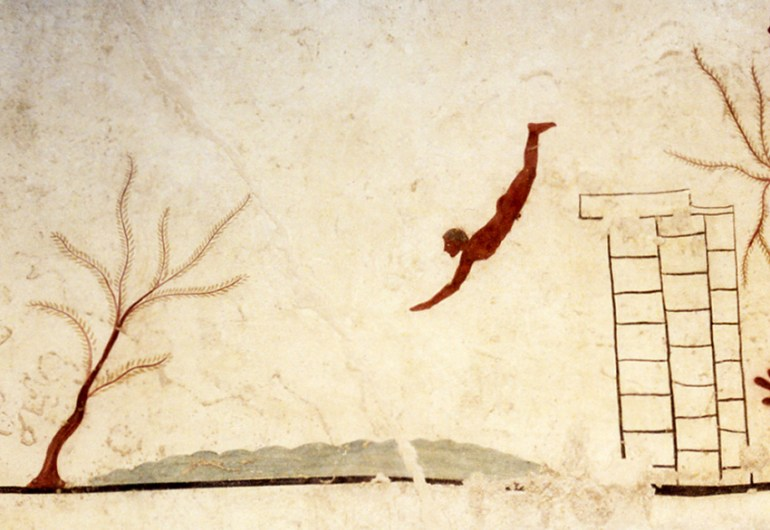 Wall fresco at the Tomb of the Diver