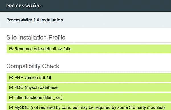 ProcessWire installation 3 - Checking requirements