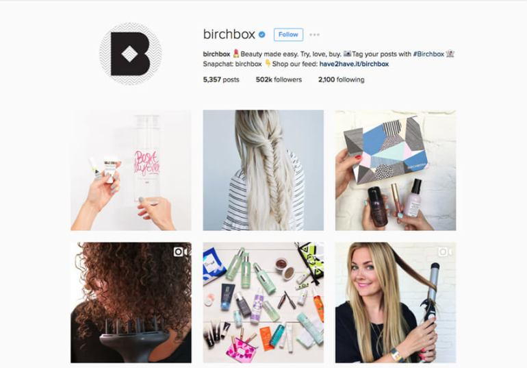 Birchbox uses its Instagram bio to direct visitors to their online shop