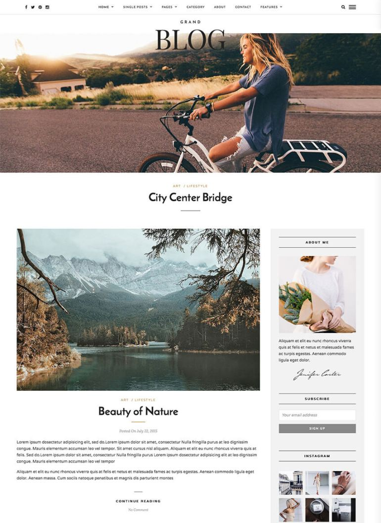 Grand Blog Minimal WordPress Theme for Bloggers