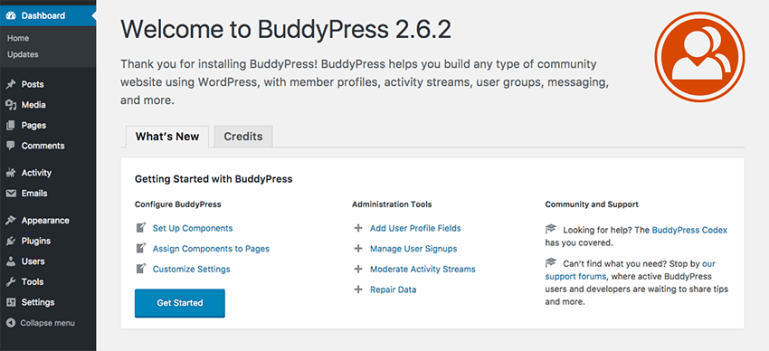 BuddyPress welcome screen