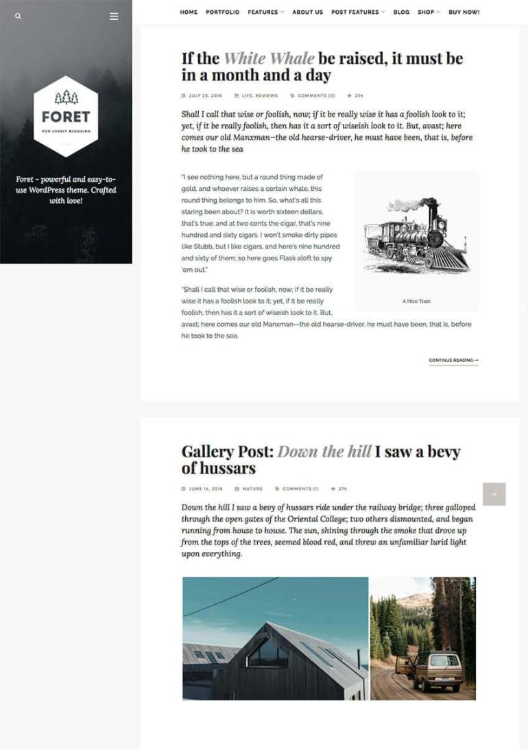 Foret WordPress Theme for Writers Artists and Bloggers