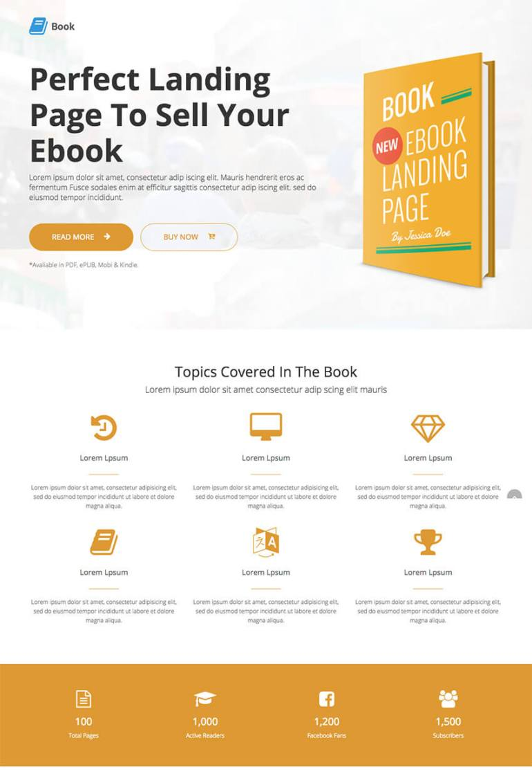 Book Responsive Landing Page eBook WordPress Theme