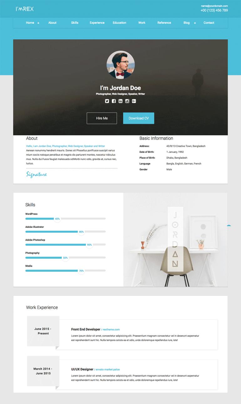 Im Rex Material HTML Resume  CV Website TemplateIm Rex
