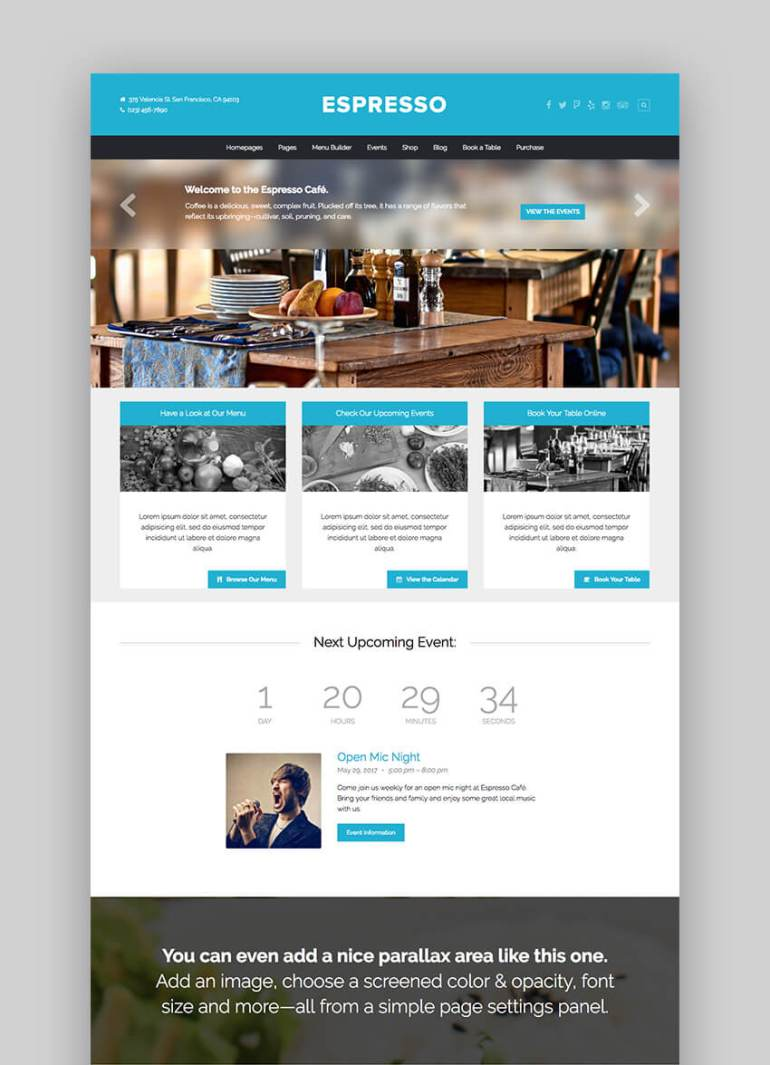 Espresso restaurant theme for WordPress