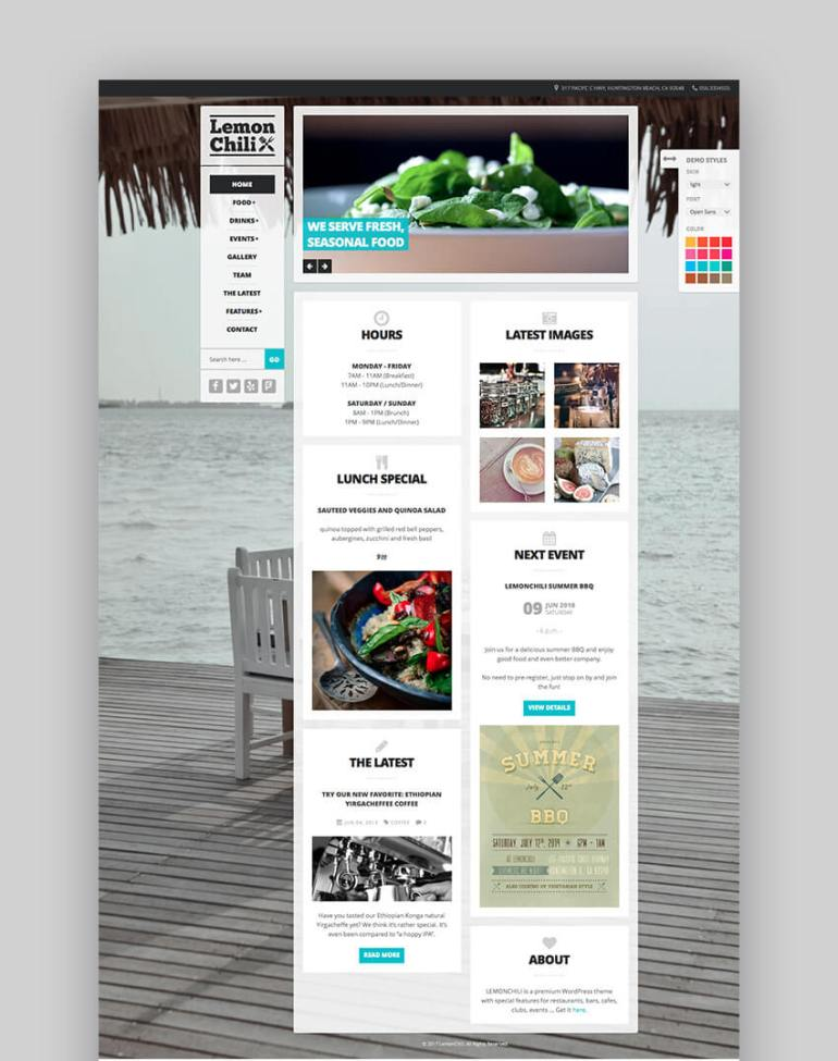LemonChili modern restaurant website theme