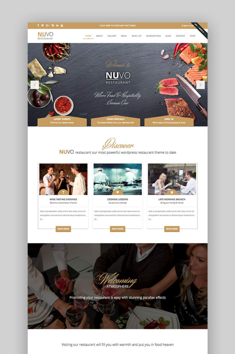 Nuvo restaurant WordPress theme