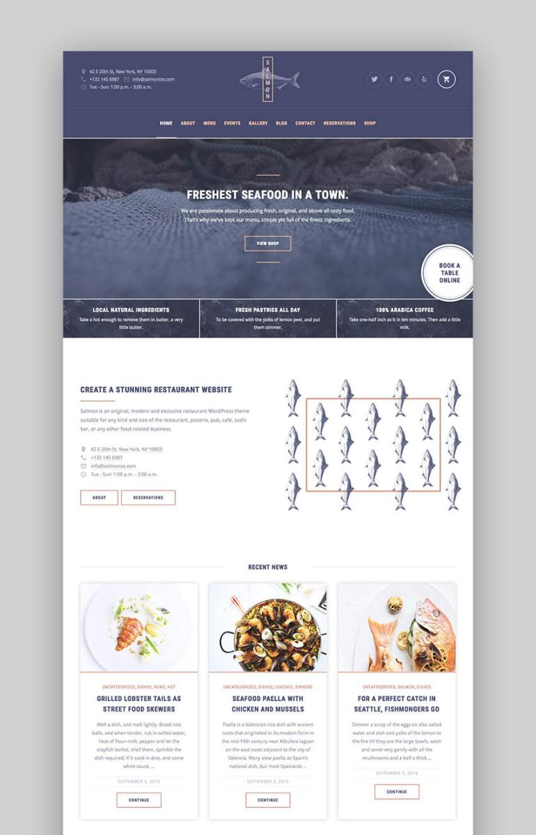 Salmon multipurpose Premium restaurant theme