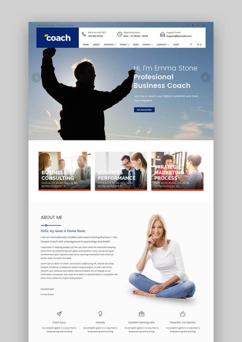 WP Coach flexible consulting WordPress theme