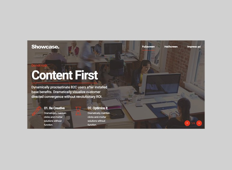 Showcase WordPress Multipurpose Full-Screen template
