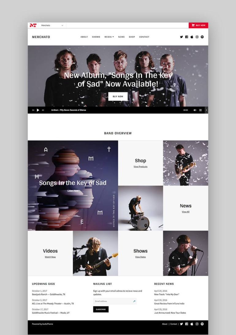 Merchato Mosaic Music WordPress Blog Theme