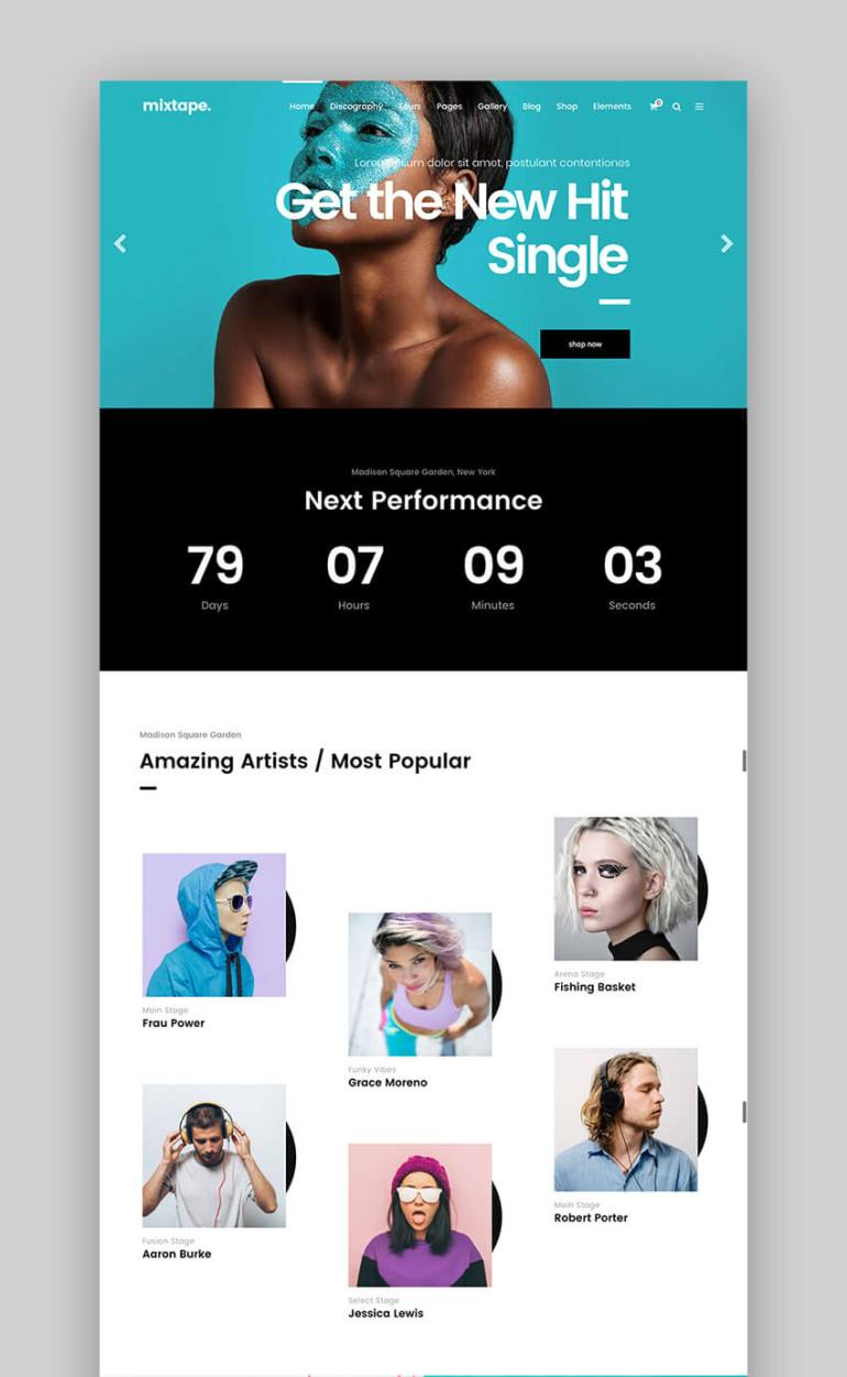 Mixtape Fresh Music WordPress Theme Design