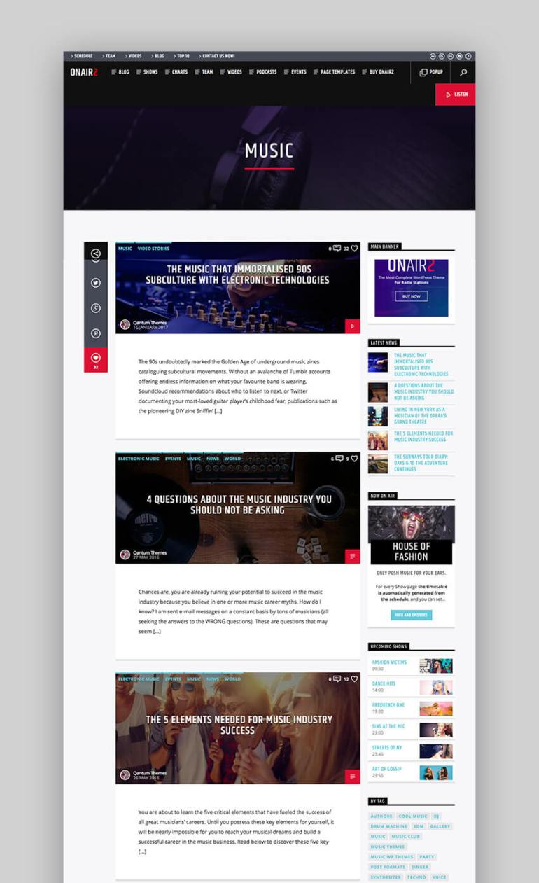 Onair2 WordPress music radio station theme