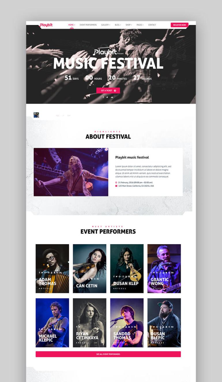 Playbit music WordPress theme