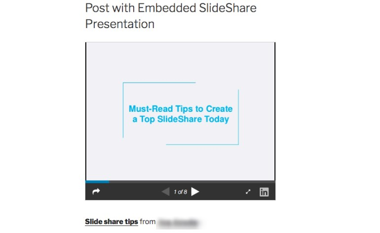 embedded slideshare presentation on WordPress website