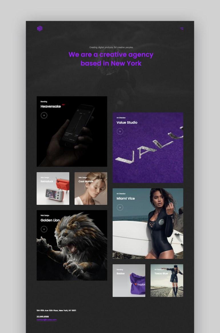 Cubez dark portfolio theme