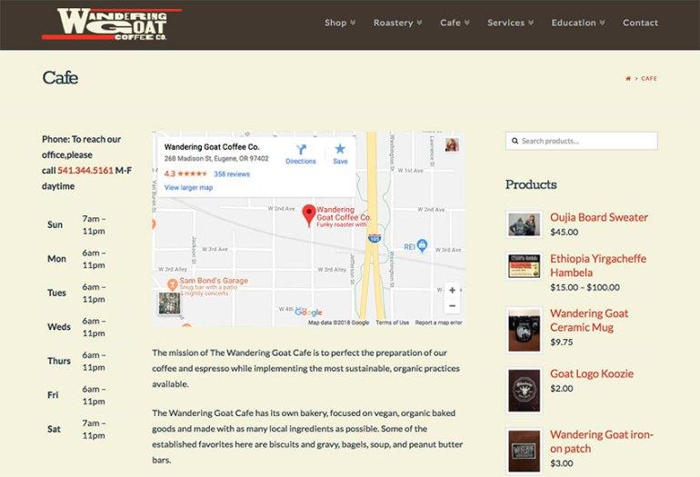 Wandering Goat Coffee Co restaurant website