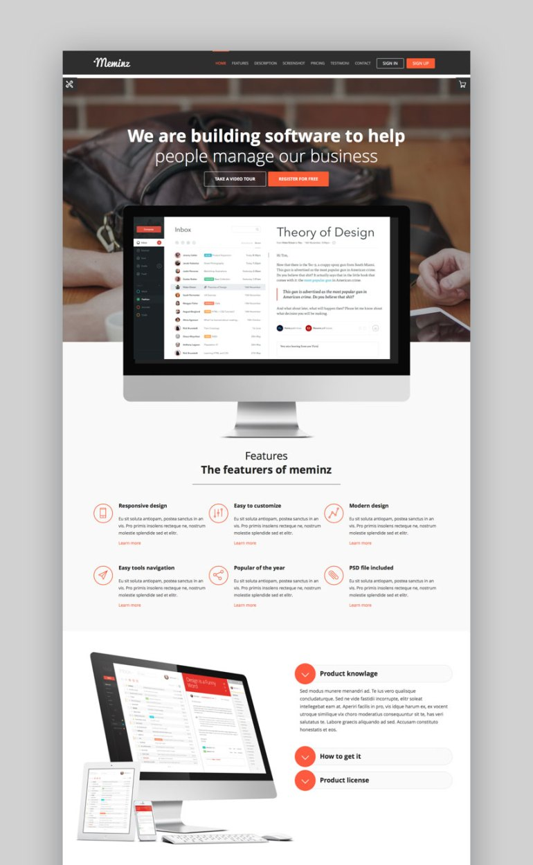 Meminz WordPress landing page theme
