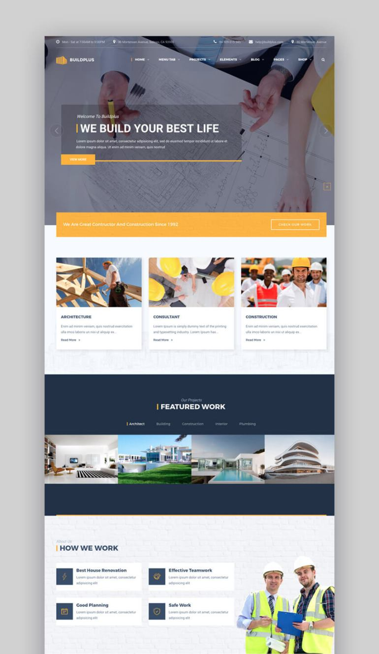 BuildPlus WordPress construction theme