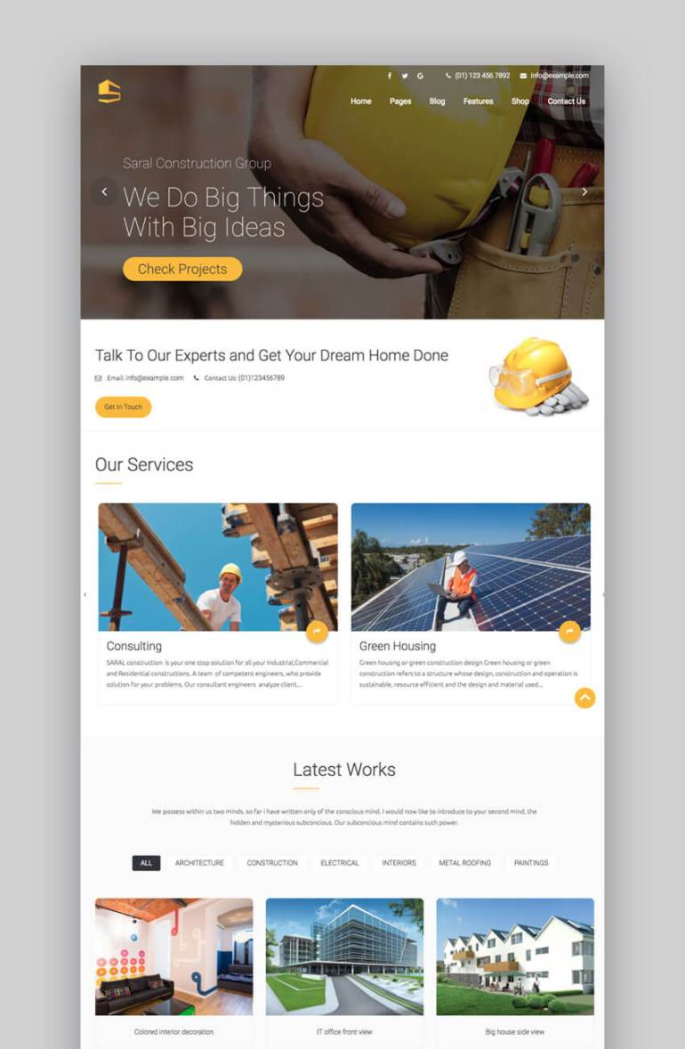 Saral WordPress construction theme