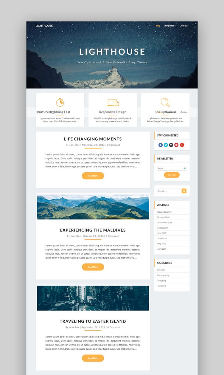 Lighthouse Blog SEO WordPress theme